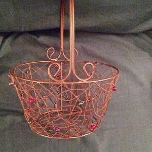 Vintage gold wire basket with beads